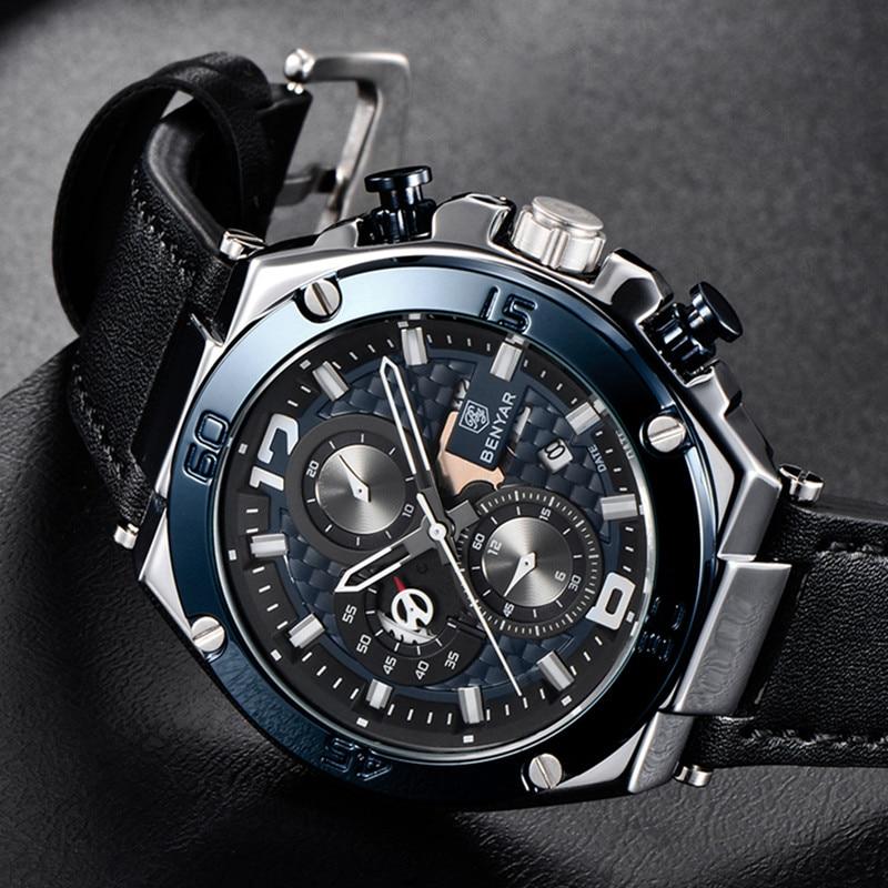 top brand benyar 2019 new waterproof chronograph luxury quartz leather black strap light blue dial men's watch date reloj hombre