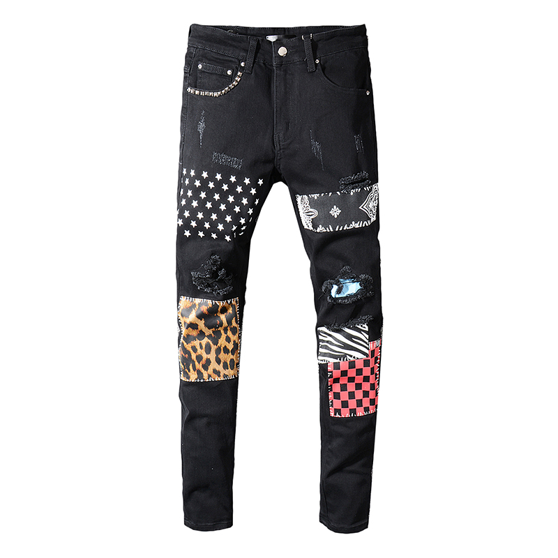 Men's Rivets Stars Printed Patchwork Black Jeans Trendy Streetwear Slim Fit Stretch Denim Pencil Pants Ripped Trousers R3370