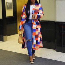 Fashion Color Blocks Autumn Long Sleeve Double Breasted Trench Coat Office Ladie
