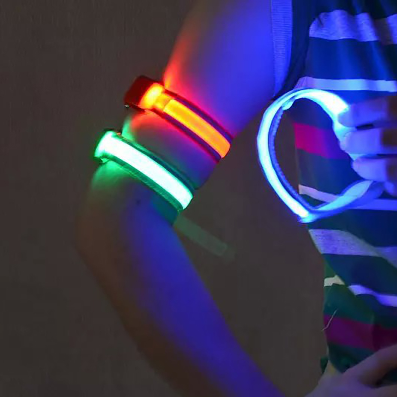 LED Wrist Band Arm Safety Belt Adjustable Soft Durable Night Running Cycling LED Light Arm Strap Safety Reflective Armband