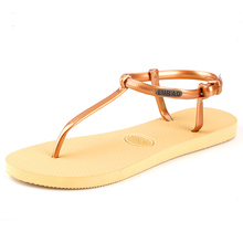 GRITION 2019 New Women Sandals Flat Summer thin Belt T-strap Gold Shoes Lightweight Walking Slippers Fashion Sexy Jelly shoes