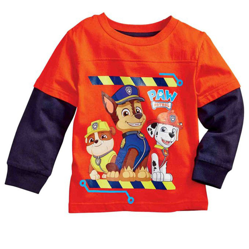 Children Foreign Trade Spring And Autumn BOY'S Paw Patro Dog Patrol Long-sleeved T-shirt Tops Childrenswear Wholesale