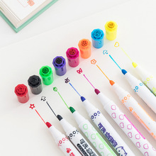 цены 12 Colors Kawaii Seal Stamp Washable Watercolor Pen Cute Marker Pen Kid Stationery Art Graffiti Drawing Painting Supply