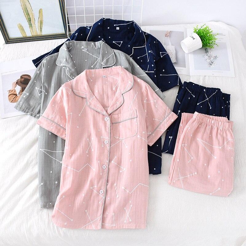 Summer Couple Pure Cotton Pajamas Set Gauze Men and Women Thin Short Sleeve Sleeve Trousers Comfortable Pajamas 2 Sets of Home