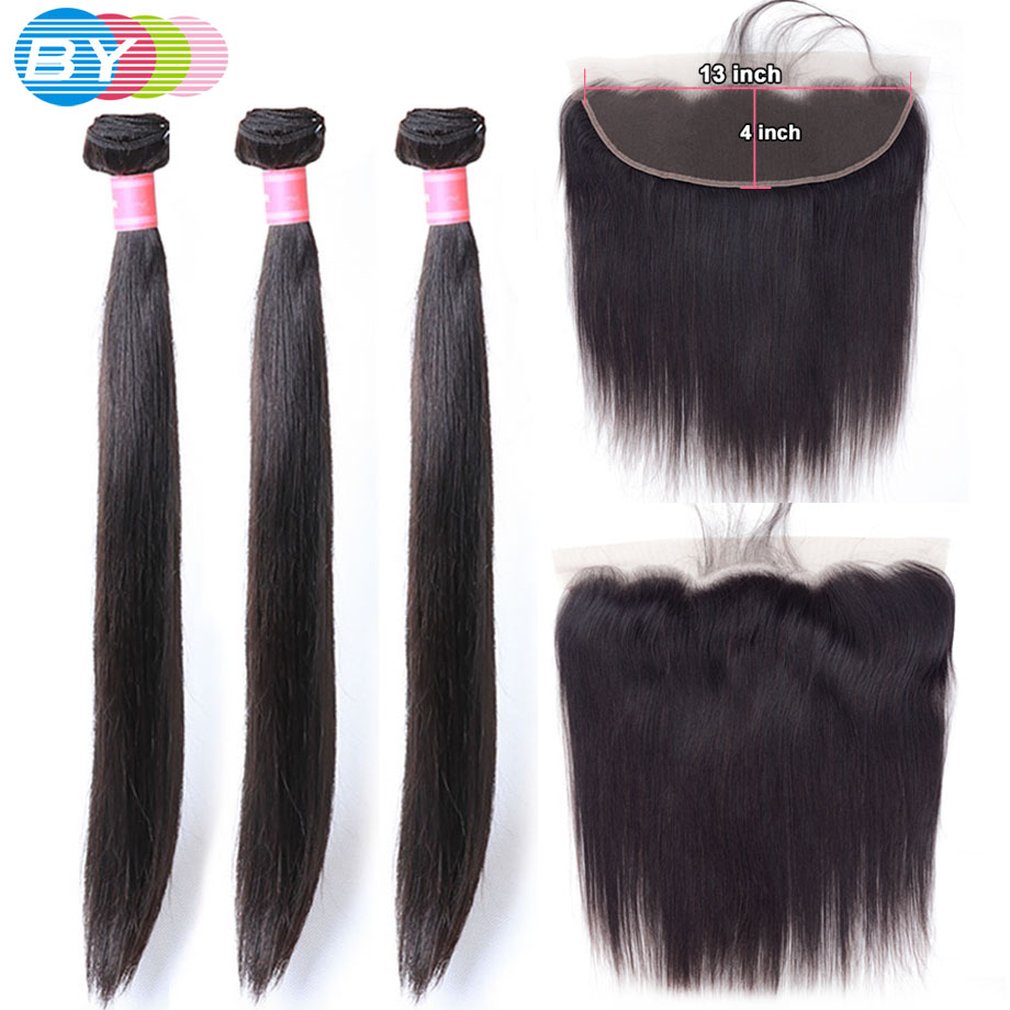 Straight Hair Bundles With Frontal Closure HD Swiss Lace 13x4 Ear To Ear Lace Frontal With Human Hair Bundles Remy Hair BY