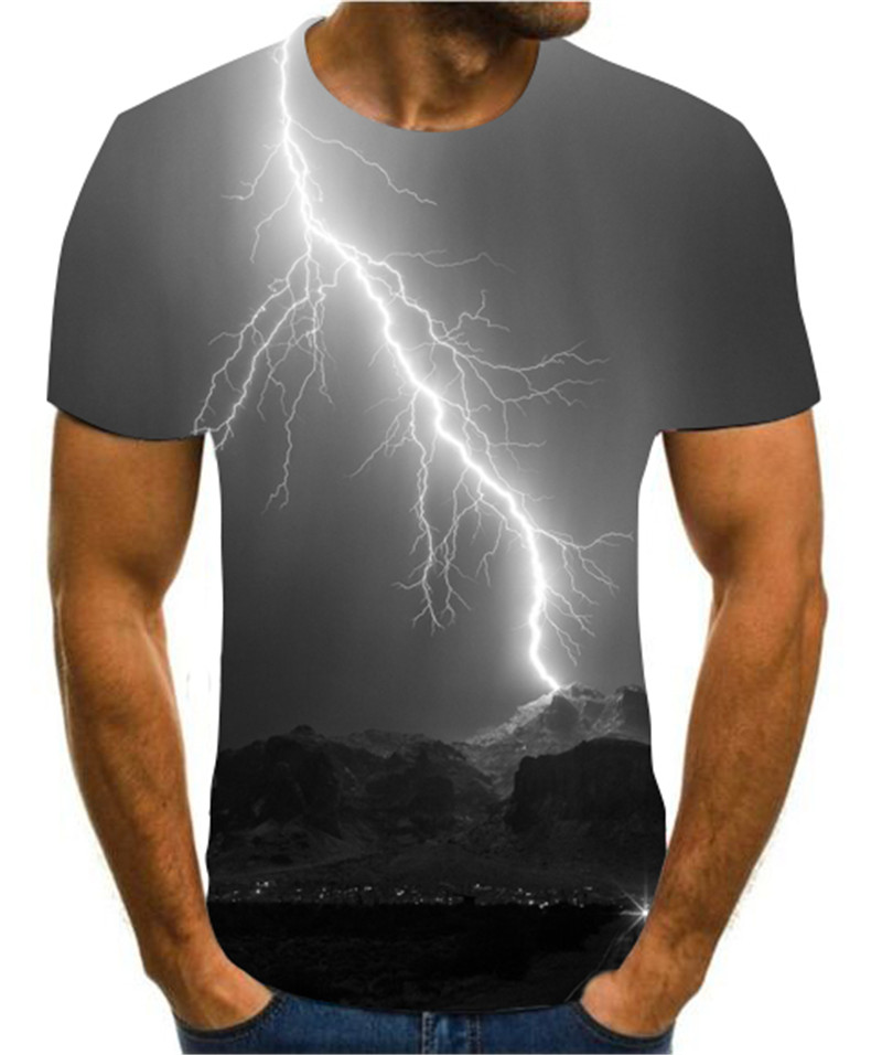 Popular 3D Flash / Sky Printed T-shirt In 2020 Individual Creativity Men's Fashion T-shirt Casual And Cool Clothing S-6xl