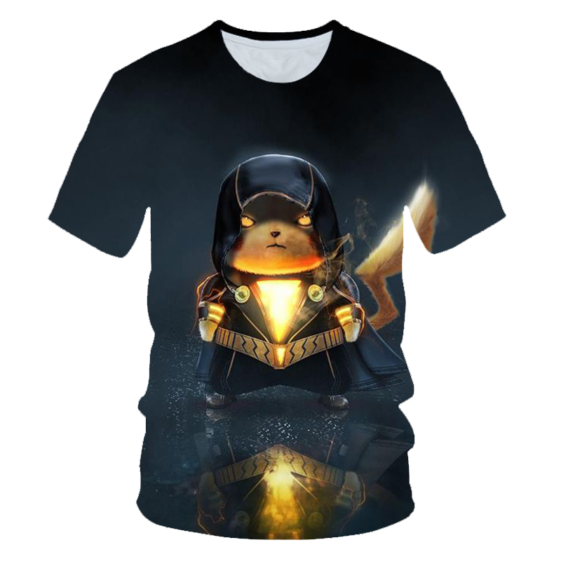 3D Movie Detective Pokemon Pikachu T-shirt For Boys Girls Tshirts Fashion Summer Casual Tees Anime Cartoon Clothes Cute Costume