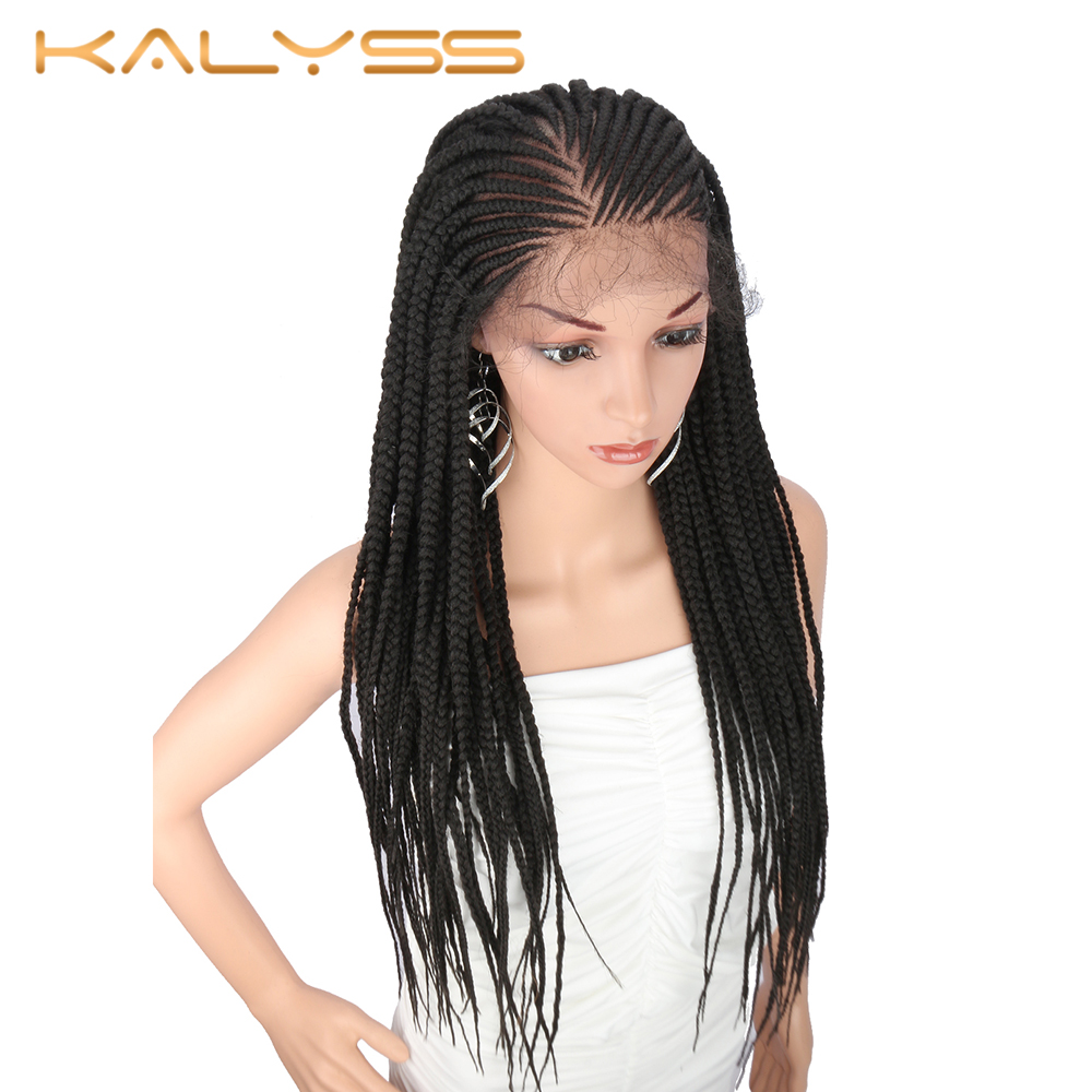 Kalyss 28 Inches 13x6 Braided Wigs Braided Lace Front Wig For Black Women 613 Blonde Synthetic Lace Front Hair Wig Baby Hair