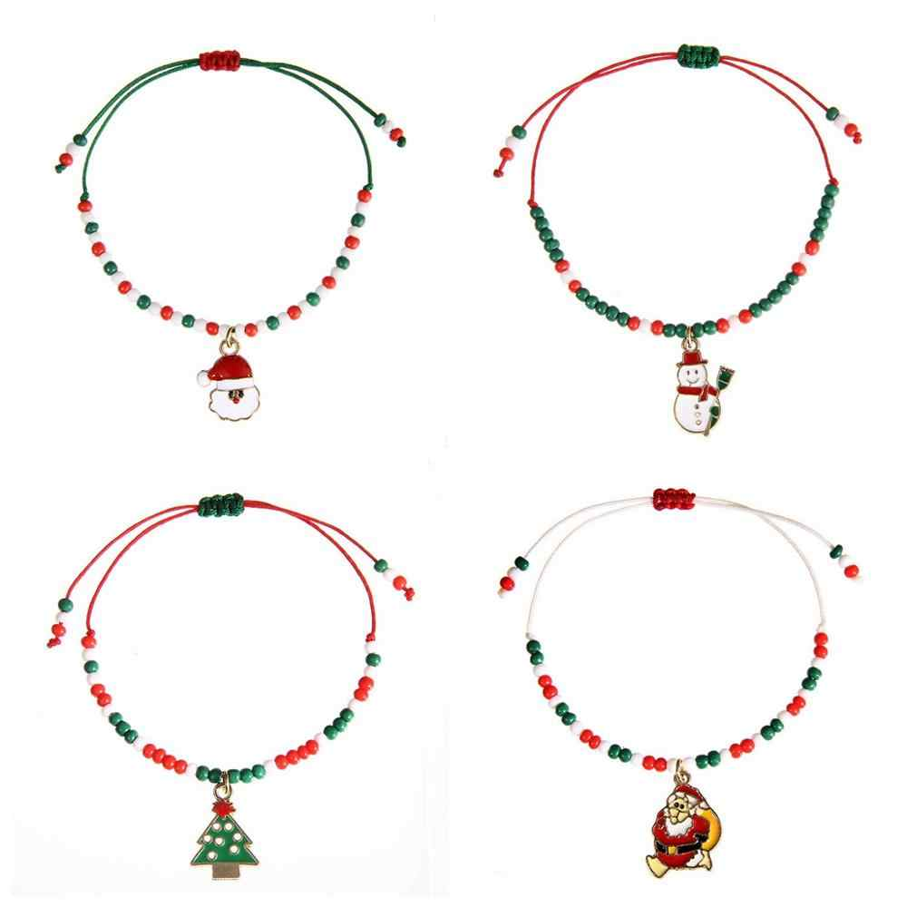 Chzll Selamat Natal Gelang Perhiasan Lucu Santa Claus untuk Wanita Xmas Dekorasi untuk Dekorasi Rumah untuk Natal Ornamen Noel Navidad