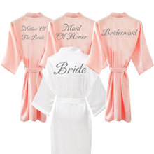 Satin Silk Robes Plus Size Wedding Bathrobe Bride Bridesmaid Mother Maid of Honor Gown Women Clothing Sleepwear Blush
