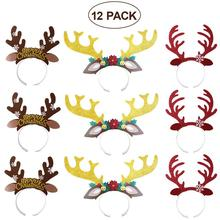 12pcs Christmas Headband Cute Reindeer Antlers Hair Hoop With Ears Headwear Accessories For Christmas Cosplay Masquerade