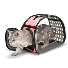 Cat Dog Universal Travel Out Carrier Bag Transparent Folding Cat Pack Pet Backpack Visible Carrying Box Pet Dog Supplies lucky lola one hand closure folding 3 wheel dog cat pet jogging stroller carrier