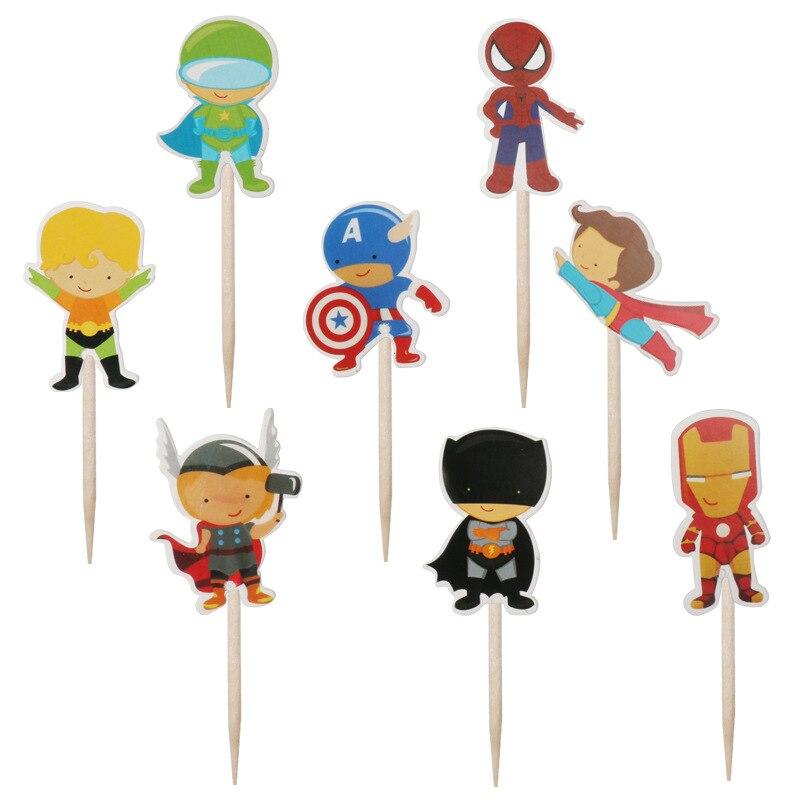 24 Pçs/lote Superhero Bolo Topper Cartão da Inserção de Cartão Da Festa de Aniversário Crianças Deco Bolo Topper Queque