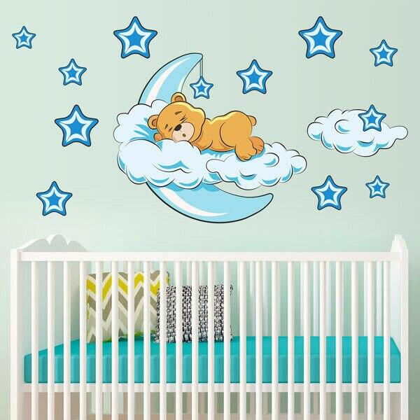 Cute Moon Star Bear Wall Sticker Nursery Kids Baby Room Vinyl Decal Removable Sleeping Bear Moon Stars Space Mural Nursery Decor