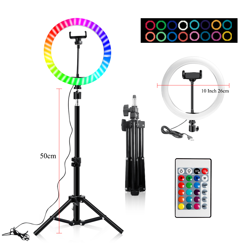 H877c85b765b345888c3e6c62c6df3a38E 10 Inch Rgb Video Light 16Colors Rgb Ring Lamp For Phone with Remote Camera Studio Large Light Led USB Ring 26cm for Youtuber