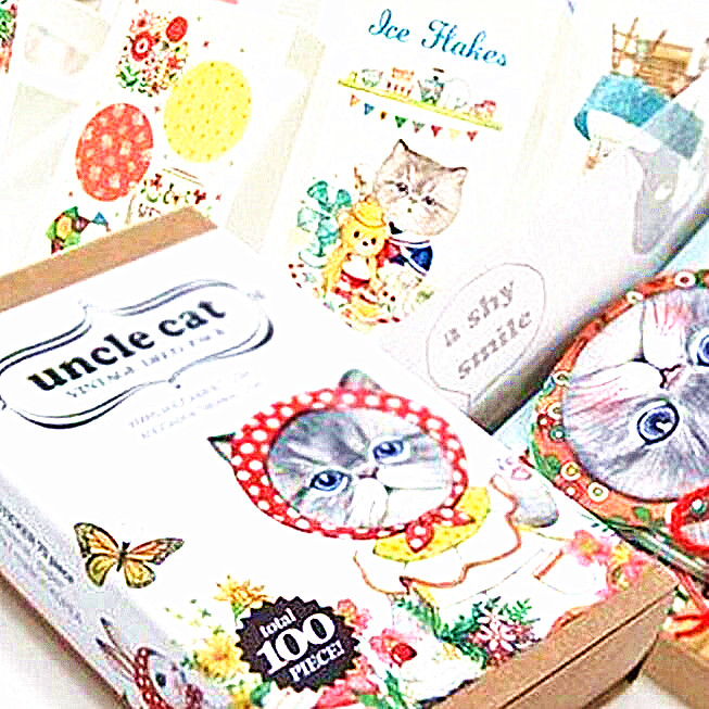 100pcs/pack Korea Style Kawaii Uncle Cat Bookmark  20pcs Bookmark+70pcs Sticker+10pcs Card Set Bookmark Box Papelaria Criativa