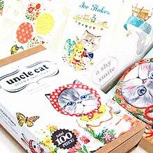 100pcs/pack Korea Style Kawaii Uncle Cat Bookmark  20pcs bookmark+70pcs sticker+10pcs card Set Box Papelaria Criativa