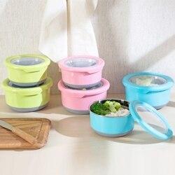 6 sztuk plastikowe pudełko do przechowywania żywności ze stali nierdzewnej liniowej zamknięte pudełko na lunch warzyw przechowywania żywności schowek świeże Pot C|Pudełka śniadaniowe|   -