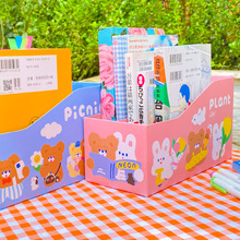 New Kawaii Bear Paper Desk Organizer Double Layer Cartoon Rabbit Bookends Document Student Stationary Desktop Storage Box