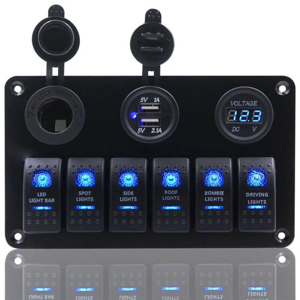 6 Gang On-Off Saklar Toggle Panel 2USB 12 V-24 V Soket Charger LED Voltmeter untuk Mobil SUV Marine RV Truk Kemping Kapal