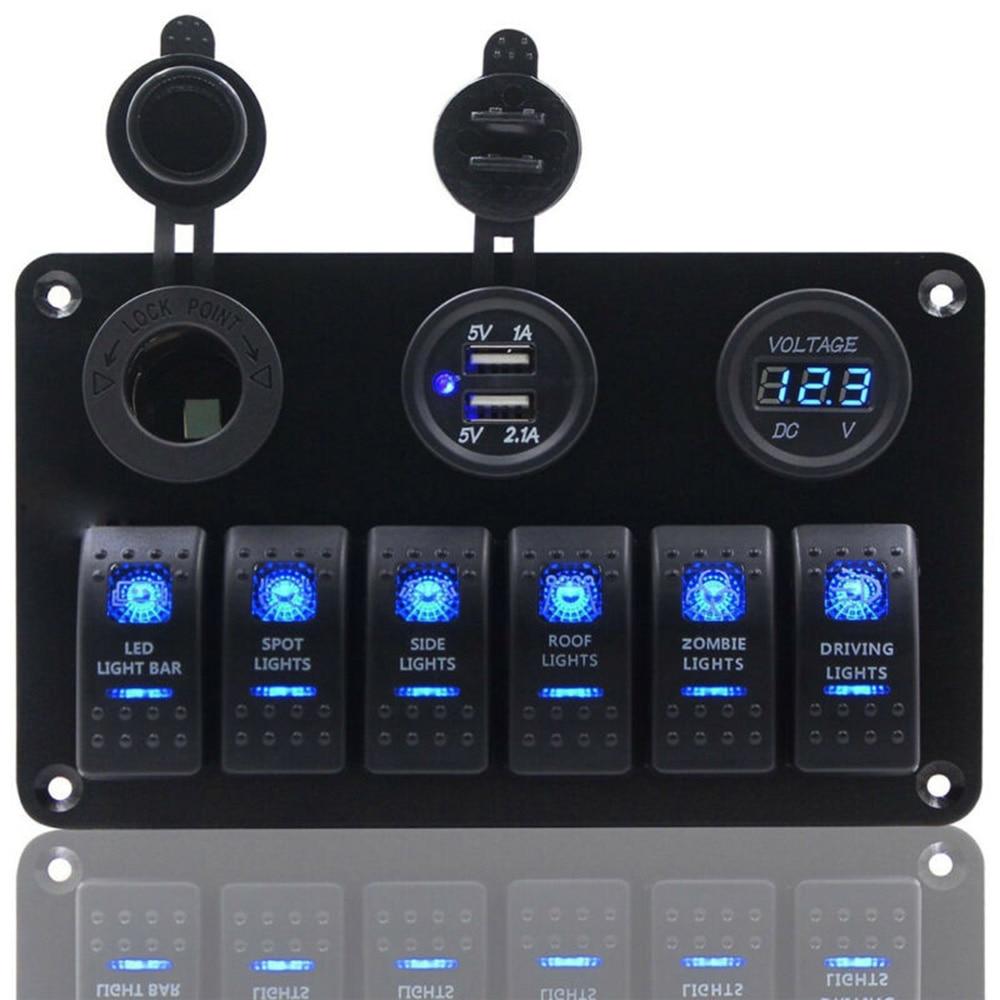 1 2 3 6 7 8 Gang ON-OFF Toggle Switch Panel 2USB 12V-24V Socket Charger LED Voltmeter For Car SUV Marine RV Truck Camper Boat
