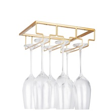 Storage-Hanger Glasses Cabinet Metal-Organizer Wine Kitchen Gold Rack-Under for Bar Stemware