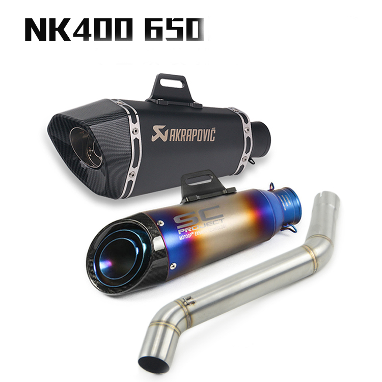 Motorcycle exhaust muffler escape slip on For NK 400 650 <font><b>NK400</b></font> exhaust pipe NK650 exhaust pipe Motorcycle modified chimney image