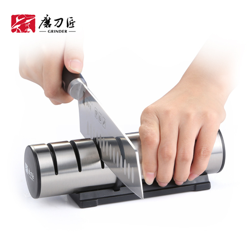 Image 3 - TAIDEA Brand Portable Kitchen Knife Sharpener Professional Kitchen Accessories 3 Slots Choice Knife Grinder Whetstone TG1202 h5-in Sharpeners from Home & Garden