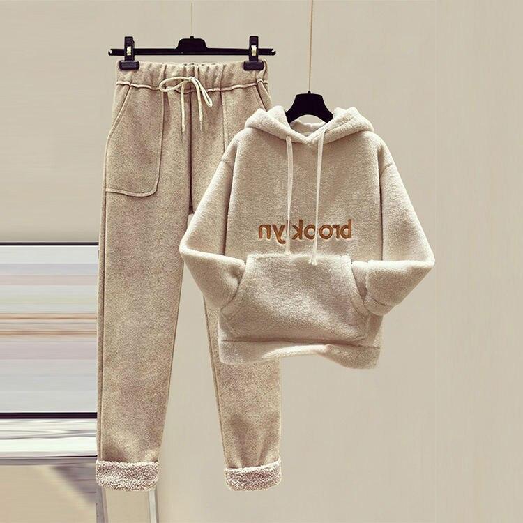 2020 Suit Female Students Korean Version Of Loose Plus Velvet Padded Faux Lamb Wool Sweater Nine Wool Casual Pants