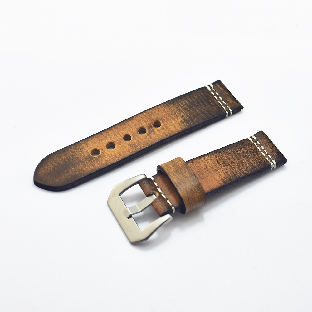 20mm 22mm 24mm 26mm Handmade Italian Brown Vintage Genuine Leather Watch Band Strap For Panerai Men Watchband Strap For PAM