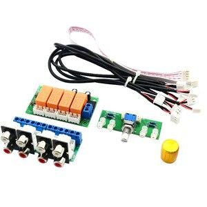 Novo relé 4-way seletor de sinal de entrada de áudio de comutação rca placa de seleção de entrada de áudio de comutação giratória para amplificadores