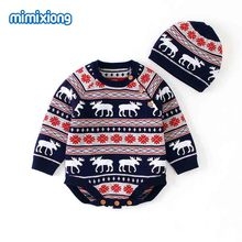 Baby Christmas Clothes Bunny Reindeer Knitted Newborn Girls Bodysuits Caps Outfits Autumn Toddler Boys Onesie Cotton Child Tops цены онлайн