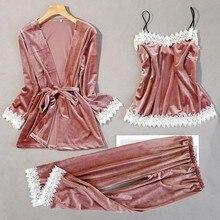 נשים חדש קטיפה 3PCS תחרה הלבשת סט סתיו חליפת פיג מה סקסית פרחוני Trim Nightwear הכלה חתונה Robe אינטימי הלבשה תחתונה