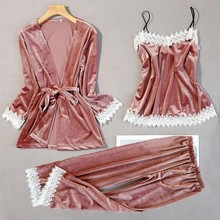 Women New Velvet 3PCS Lace Sleepwear Set Autumn Pajama Suit Sexy Floral Trim Nightwear Bride Wedding Robe Intimate Lingerie