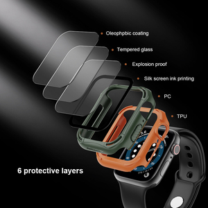 Image 5 - for Apple Watch Case 44mm 4/5/6/SE iWatch Cover Safety Glass Screen Protector + Shockproof Bumper For Apple Watch 40mm 4/5/6/S