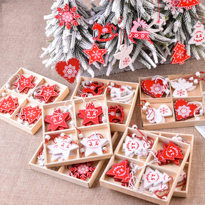 10PCs 5cm Christmas Decorations for Home Wooden Christmas Ornaments Pendants Happy New Year Xmas Tree Decoration Home Decor Noel