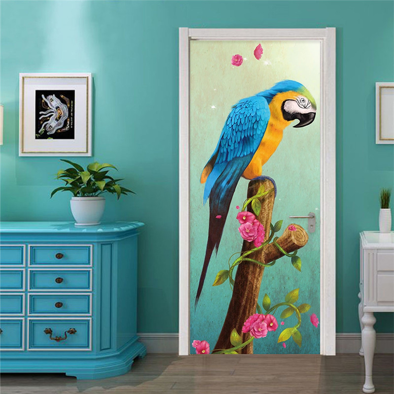 3D Wall Sticker Modern Color Parrot Art Door Decoration Painting Living Room Bedroom Vinyl Door Mural Wallpaper PVC Door Sticker