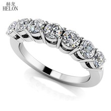 HELON Moissanite Ring Solid 18K White Gold 0.7CT VVS/D Color Lab Grown Diamond Moissanite Engagement Ring Women Trendy Jewelry(China)