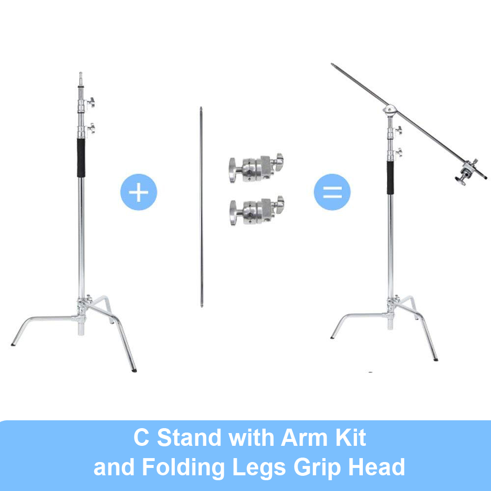 Heavy Duty Stainless Steel Light Stand Backdrop Stand C-Stand With Hold Arm And Grip Head For Photography Reflectors/Softboxes