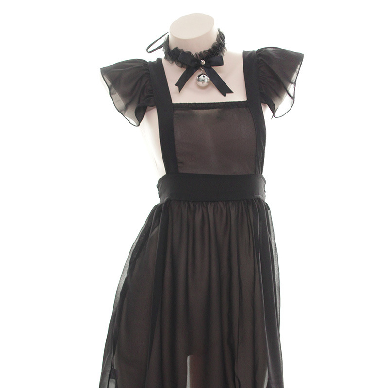 <font><b>Halloween</b></font> fun transparent maid uniform underwear maid apron bell ring neck erotic uniform <font><b>cosplay</b></font> <font><b>Halloween</b></font> <font><b>sexy</b></font> underwear bell image