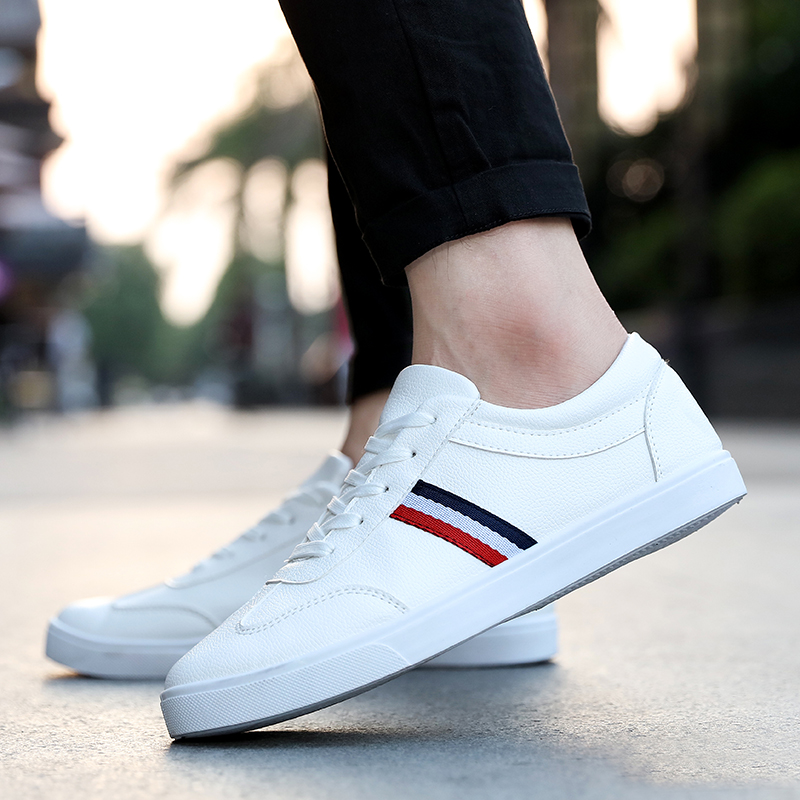 Hot Men White Sneakers Man Casual Shoes Breathable Pu Leather Tenis Trainers Sports Mens Sneaker Handsome Walking Shoes ST473