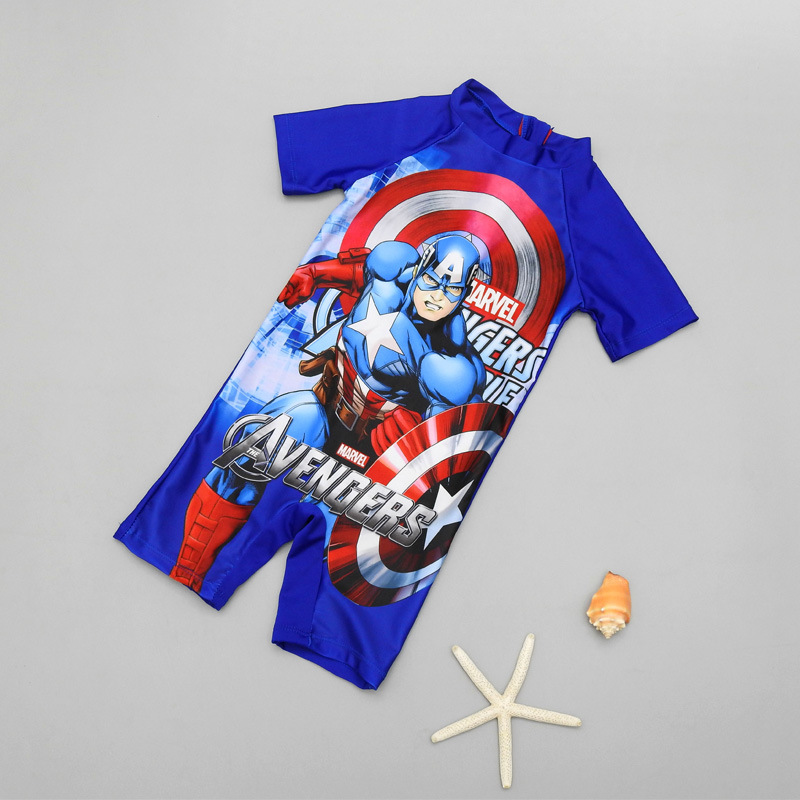 Export Europe And America Cool America Captain KID'S Swimwear BOY'S Siamese Swimsuit Handsome Surfing Suit Quick-Dry Fashion