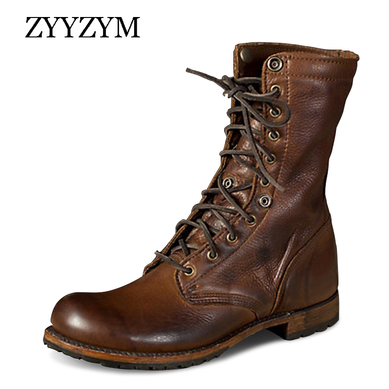 ZYYZYM Men Boots Leather Plus Size Knight Boots Man Lace Up Men Ankle Boots Brithsh Motorcycle Boots For Men Zapatos De Hombre