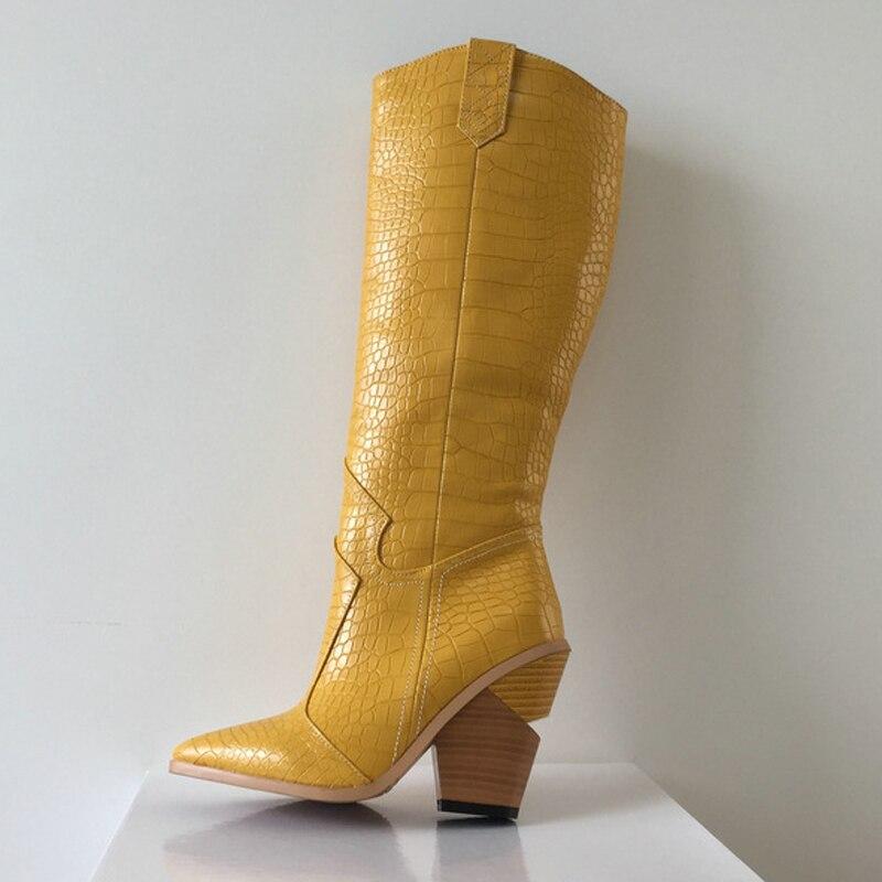 Women Long Boots Block Wedges High Heel 10.5CM Shoes Pointed Toe Autumn Winter Female Snake Print Boots-Women BT13