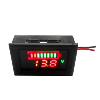 12V akumulator samochodowy wskaźnik poziomu naładowania Tester baterii wysoce precyzyjny miernik pojemności elektrycznej akumulatora z podwójnym wyświetlaczem LED tanie i dobre opinie AOZBZ Z tyłu 18mm 45mm None Battery capacity indicator 26mm China