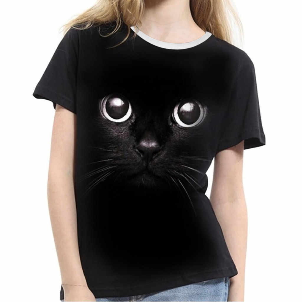 Stijlvolle Bar Grappige Grote Ogen Kat Print Slim T-shirts Fashion Vrouwen Meisjes Plu Size 3D Print Animal Korte Mouw T-Shirts top Tee