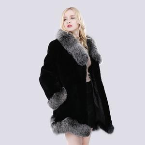 Image 4 - חדש חורף נשים טבעי ארוך סגנון אמיתי רקס ארנב פרווה מעיל רוסיה ליידי חם אופנה רקס ארנב פרווה מעיל עם שועל פרווה צווארון
