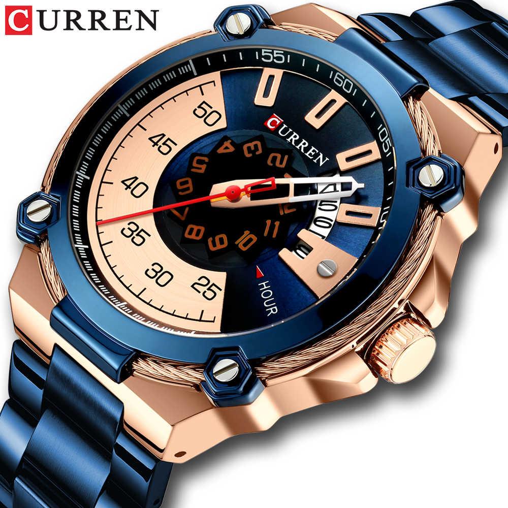 Relogio Masculino CURREN יוקרה קוורץ שעון לגברים כחול עסקי ספורט שעונים Mens 2019 חדש מלא פלדת חגורת שעון יד