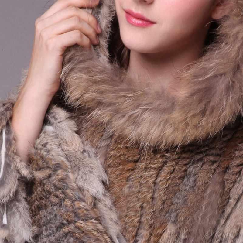 2020 nouvelle enveloppe de fourrure pour femmes hiver chaud dames tricoté naturel lapin et fourrure de raton laveur châle avec des vêtements à capuche mode luxe
