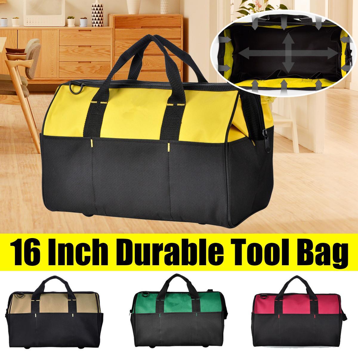 16 Inch Oxford Tool Bag Waterproof Hand Tool Storage Bag Large Capacity Adjustable Shoulder Strap Storage Electrician Bag